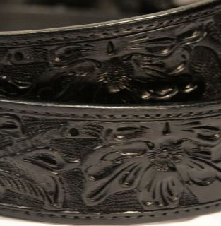 Hand Tooled Leather Western Belt Classic Cowboy AVAILABLE in Brown and