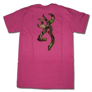 Dark Pink Browning Camouflage Buckmark T Shirts   Logo Color Camo