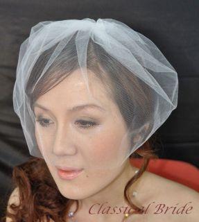 TULLE BIRDCAGE BLUSHER VEIL In Ivory / White, Wedding Bridal Tiara