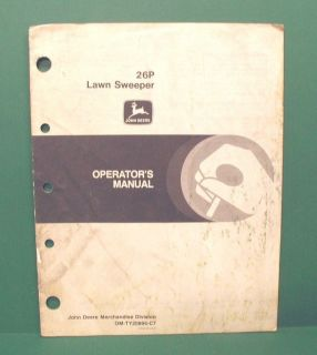 1987 John Deere Model 26P Lawn Sweeper Operators Manual OM TY20895 C7