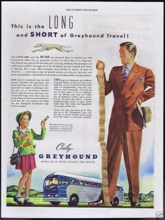 1947 Greyhound Bus Travel Short Long Trips Ticket Ad