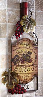 New Welcome Wine Bottle Art Wall Decor Vineyard Home Kitchen Decor