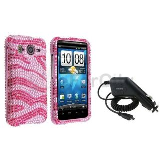 Diamond Hard Case Cover+Car DC Charger For HTC Inspire 4G Desire HD