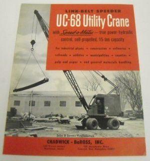 Link Belt Speeder 1964 UC68 Utility Crane Sale Brochure
