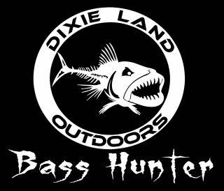 Bass Hunter fishing decal,bass sticker,lure,largemouth bass,baitcaster
