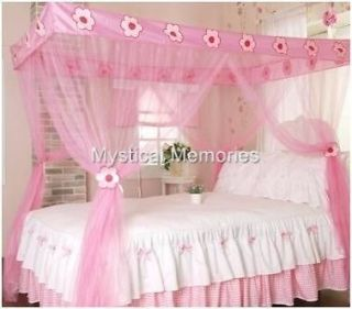 Pink Fairy Princess Mosquito Net 4 Poster Bed Canopy