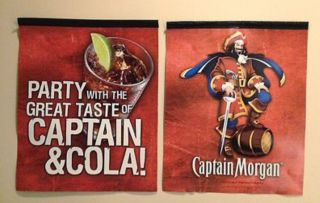 CAPTAIN MORGAN 2 SIDED BAR BANNERS FLAGS   SET OF 2   NEW