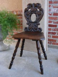 Antique VICTORIAN English Oak Carved Side Desk Hall CHAIR SPINNING