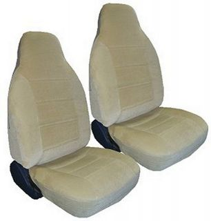 TAN BEIGE ENCORE VELOUR HIGH BACK NEW SEAT COVERS CAR TRUCK SUV