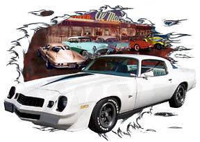 1979 White Chevy Camaro Z28 Custom Hot Rod Diner T Shirt 79, Muscle