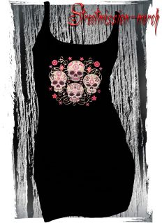CANDY SKULLS,SUGAR SKULLS,DAY OF THE DEAD,TATTOO,ROCKABILLY,TANK TOP