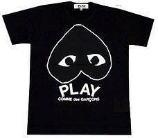 COMME Des GARCONS CDG PLAY MENS T SHIRT BLACK SZ L 1