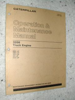 CAT Caterpillar 3208 OPERATION MAINTENANCE MANUAL DIESEL TRUCK ENGINE