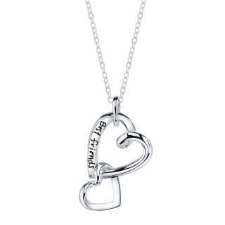 Sterling Silver Best Friends Linked Two Heart Necklace   Necklace