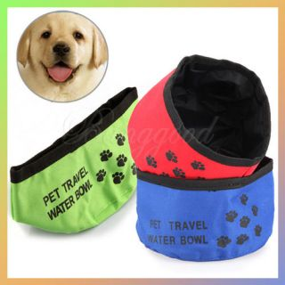 Pet Dog Cat Puppy Feeding Bowl Water Food Foldable Dish Outdoor Travel