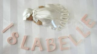 TOPPER Baptism Christening gown dress pearl white favor Centerpiece