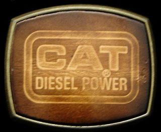 COOL VINTAGE 1970s **CAT DIESEL POWER** BRASS & LEATHER BUCKLE