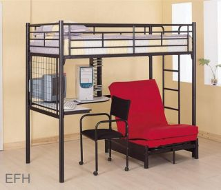 MASON BLACK FINISH METAL BUNK BED W/ DESK CHAIR CD RACK FUTON CHAIR
