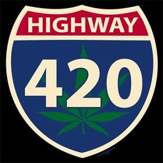 HIGHWAY FOUR TWENTY HERB DANK GANJA GIFT T SHIRT WEED BEER MARIJUANA