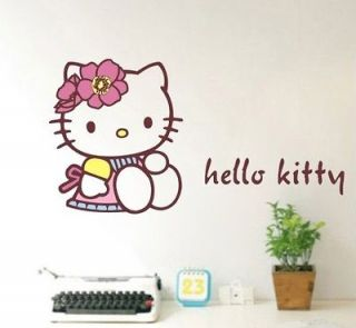 HELLO KITTY with Bear Bedroom Living Room Wall Stickers Decor Decals