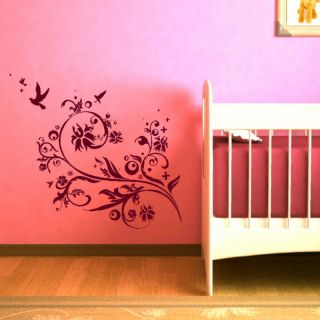 HUMMING BIRD FLYING OUT FLOWERS WALL DECAL GRAPHIC kids vinyl stencil