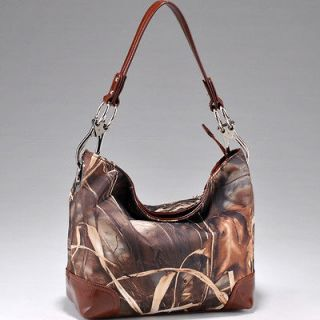REAL TREE BROWN CAMO CAMOUFLAGE WESTERN HOBO TOTE PURSE HANDBAG