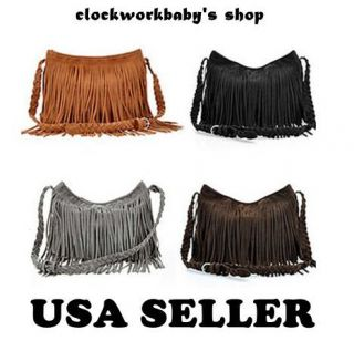 HIPPIE Suede Fringed Tassel Cross Body Messenger Bag Handbag Purse