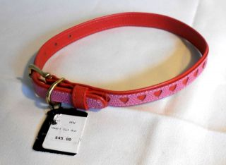 Pets World Heart Cut Outs Red & Pink Leather 16 x 5/8 Dog Collar