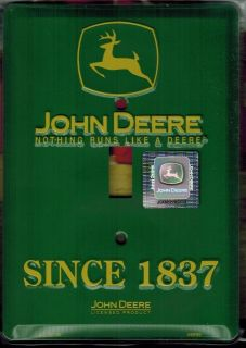 John Deere Since 1837 Light Switch PLATE COVER logo metal sign garage