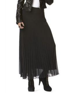 INC NEW Black Chiffon Pleated Maxi Skirt 16 BHFO