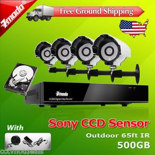 Channel DVR CCTV Outdoor 65ft IR Home Security Camera System 500GB HD