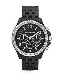 Michael Kors OVERSIZED Glitz Swarovski Crystal Black MOP Ladies Watch