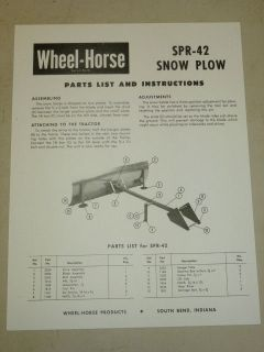 WHEEL HORSE TRACTOR SPR 42 SNOW PLOW PARTS LIST MANUAL