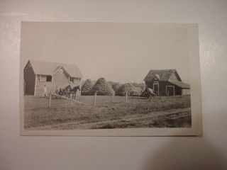 RPPC Horse Wagon Farm equipment machines farming real photo Postcard