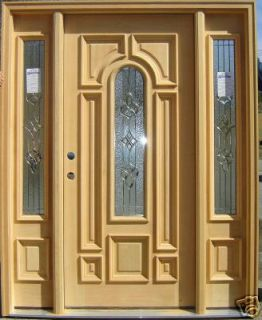 Solid Wood Entry Front Door w/ Sidelights Free S&H ATC