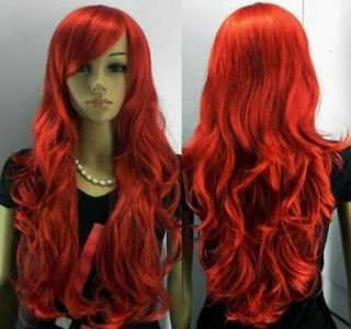 24/60cm NEW long red curly human made hair womens full wig
