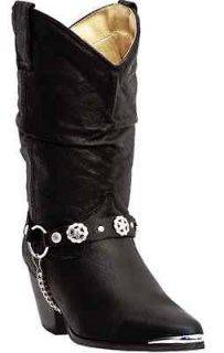 DI 522 Dingo Bailey Black Womens Slouch Harness Cowboy Western Boot