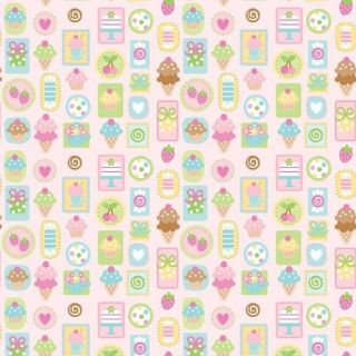 Sweet Treats cupcake, ice cream cone, candy, fruit on pink 1/2 yd