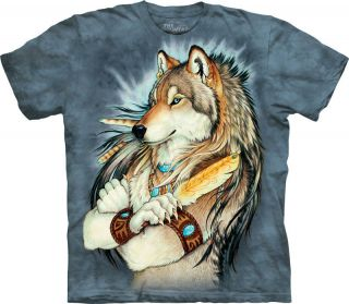 New GOLDEN FEATHER INDIAN WOLF T Shirt