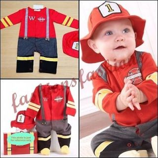 Cute Baby / Toddler Boy Fireman Costume Outfits w/Hat 6 24 months
