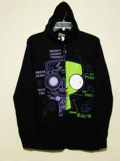 Invader Zim Gir X Ray Black Hoodie   Jacket by MF   HOT TOPIC Size