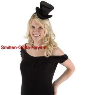 Steampunk Victorian Black VELVET New Mini Cocktail TOP HAT Costume