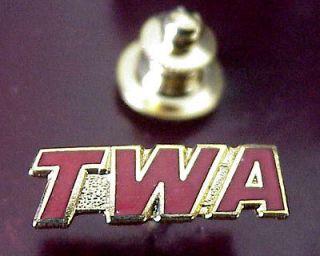 WORLD AIRLINES GOLD TONE METAL RED ENAMEL INITIALS TWA LOGO MINI PIN