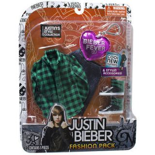 NIB Justin Bieber Fashion Pack   Green Plaid Shirt & Pants, shoes Set