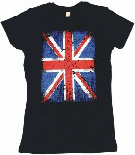 Union Jack British Flag Distressed Logo Womens Tee Shirt Pick Size