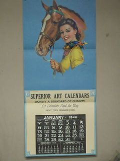 Cowgirl/Cowboy advetising Calendar showroom sample, 20x44 J Erbit