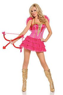 Womens Sexy Cupid Costume Pink Valentines Day Hearts Bow and Arrow