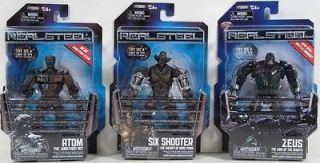 Real Steel Wave 2 LOT OF 3 FIGURES   SIX SHOOTER! ATOM! ZEUS! NIP