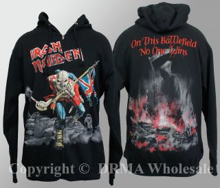 Authentic IRON MAIDEN The Trooper Eddie Zipup HOODIE Sweatshirt S M L