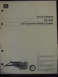 John Deere 507 Gyramor Rotary Cutter Mower Parts Catalog Manual
